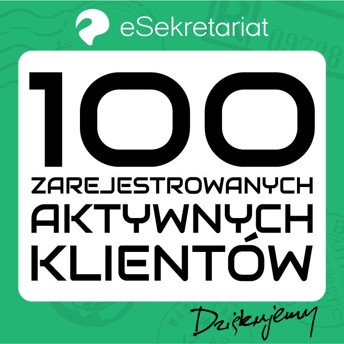 Miło nam poinformować, że wersja 2.0 eSekretariatu pozyskała już 100 zarejestrowanych, aktywnych klientów/firm. Jednocześnie pragniemy pochwalić się informacją, że nasz system zyskuje uznanie wśród dużych sklepów internetowych portalu aukcyjnego Allegro.pl. Dziękujemy za zaufanie.