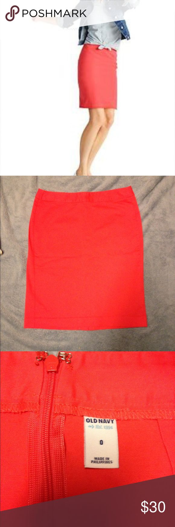 NWOT coral pencil skirt size 0 NWOT coral pencil skirt with stretch (3% elastic 97% Cotton). Hidden zipper on back, small kick pleat. First pic found on Google (says it's Old Navy clothing). Non-smoke home. Old Navy Skirts Mini
