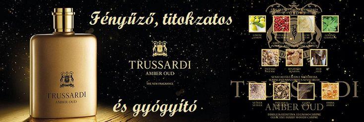 Trussardi Amber Oud férfi parfüm  A luxus kategóriába tartozó illatkompozícióban megjelenő két komponens ősi gyógyító erővel bír. Amber Oud orientális fás illatcsalád tagja, mely egyedülálló rezgéssel bír.  Misztikus gyógyító illatmámor, a luxus eleganciájával