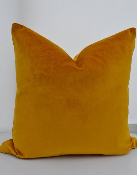Mustard Cotton Velvet Pillow Cover The Is Made Of Size Please Check Dimensions Color Yellow Zipper Closure Dry Clean