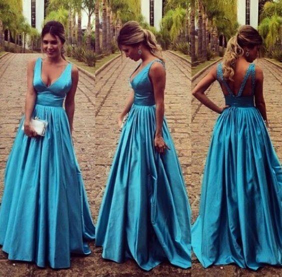 Elegant Blue Prom Dress - V-neck Sleeveless Sweep Train Backless with Pleats