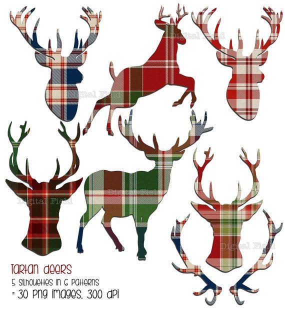 Tartan deer clip art set  plaid reindeer Christmas by digitalfield