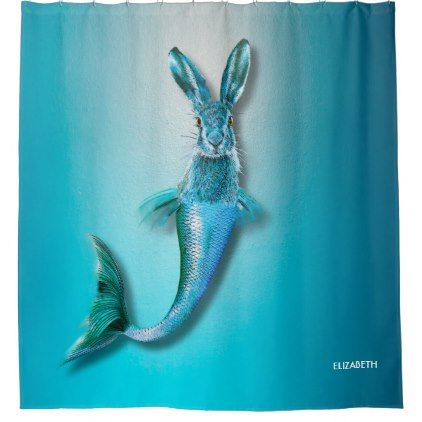 Cute Psychedelic Haremaid Mermaid Hare Mix Funny Shower Curtain - home gifts ideas decor special unique custom individual customized individualized
