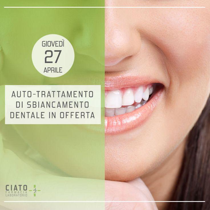 Prenditi cura del tuo sorriso con la Farmacia Ciato – Giovedì 27 Aprile l'auto-trattamento di sbiancamento dentale è in offerta. Approfitta dello sconto e fissa subito il tuo appuntamento. #farmaciaciato #farmacia #ciato #padova #eventi