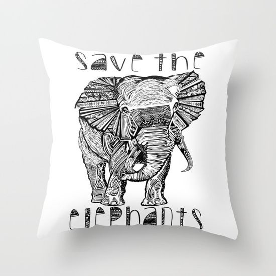 Save the elephants. Artwork by award winning artist Liss Brown. Throw Pillow. 100% spun polyester poplin fabric. a stylish statement that will liven up any room. Individually cut and sewn by hand, each pillow features a double-sided print and is finished with a concealed zipper for ease of care.  Sold with or without faux down pillow insert.