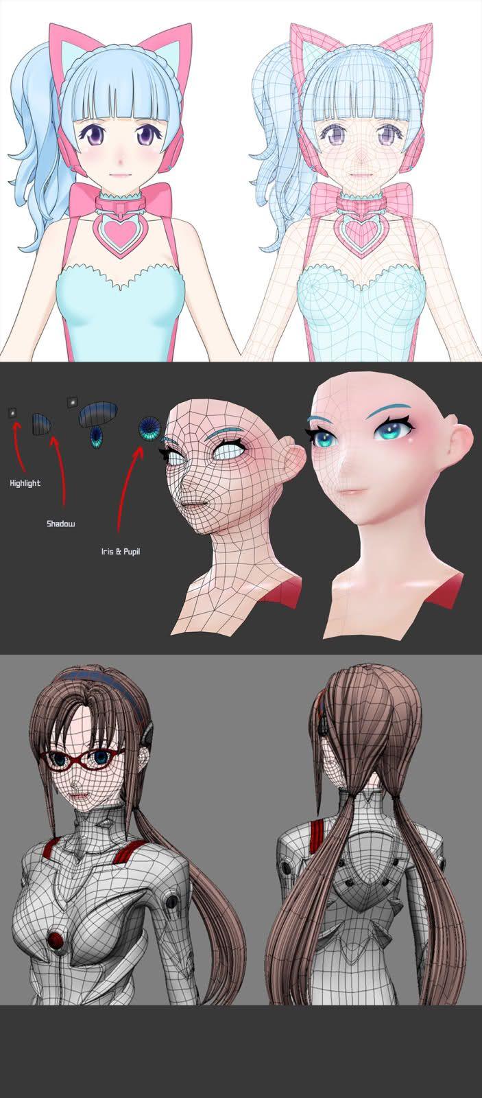 Japanese Modeling technique デフォルメ 顔