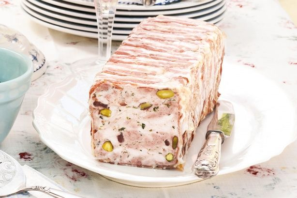 This gorgeous terrine with cranberries and pistachios is a delicious addition to a Christmas brunch or lunch menu.