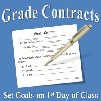 Grade Contracts for Middle School: Perfect for the first day of school to get students to set goals and help with classroom management.
