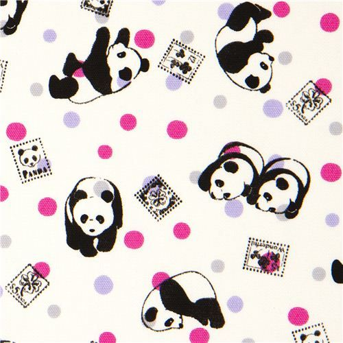 panda bear Kokka oxford fabric with stamps & dots | Panda