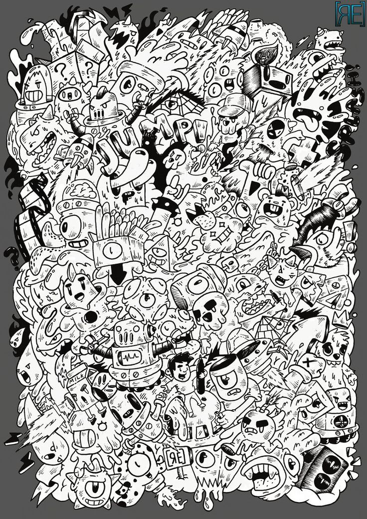 Doodle design I've made to be printed on a t-shirt -Detailed version: redartwork.tumblr.com/
