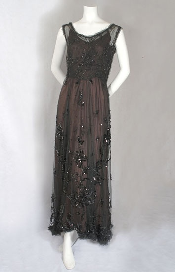 Edwardian Titanic Era Beaded Tulle Evening Dress Gown c.1912 - 1915