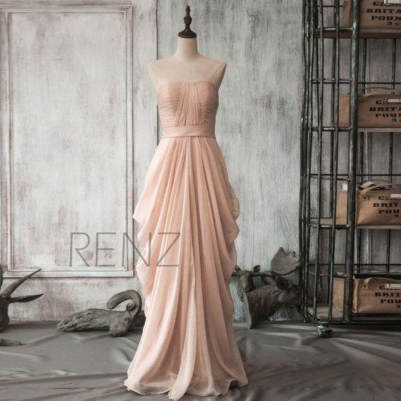 2015 Peach Chiffon Bridesmaid dress Blush Draped by RenzRags