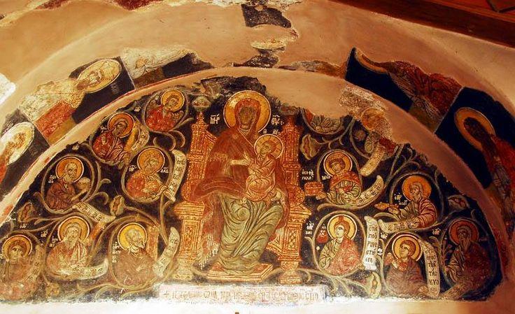 Τοιχογραφία μπροστά από την τράπεζα (Ιερά Μονή Ξενοφώντος, Άγιον Όρος) - Fresco in front of the refectory (Holy Monastery of Xenophontos, Mount Athos)