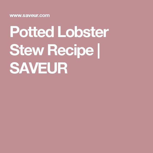 Potted Lobster Stew Recipe | SAVEUR