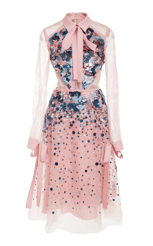 Kurzes Kleid mit Spitzenärmeln von ELIE SAAB für Vorbestellung auf Moda Operandi
