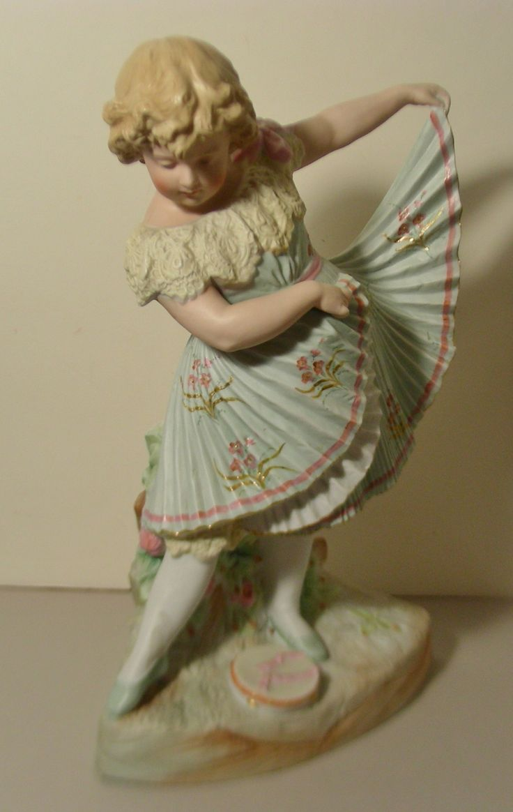 14 In Heubach Bisque Figurine Dancing Girl Swirling Skirt