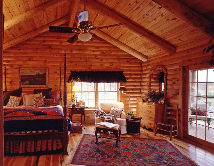 Log cabin bedroom furniture real log style log cabin for Log cabin styles