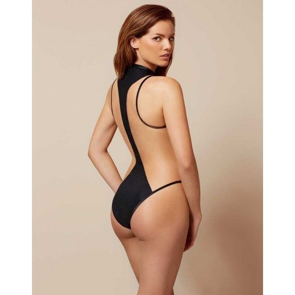 Agent Provocateur Marlene Swimsuit Black-2 ($240) ❤ liked on Polyvore featuring swimwear, see through bathing suit, 80s swimsuit, sheer swimwear, sheer bathing suits and beach wear
