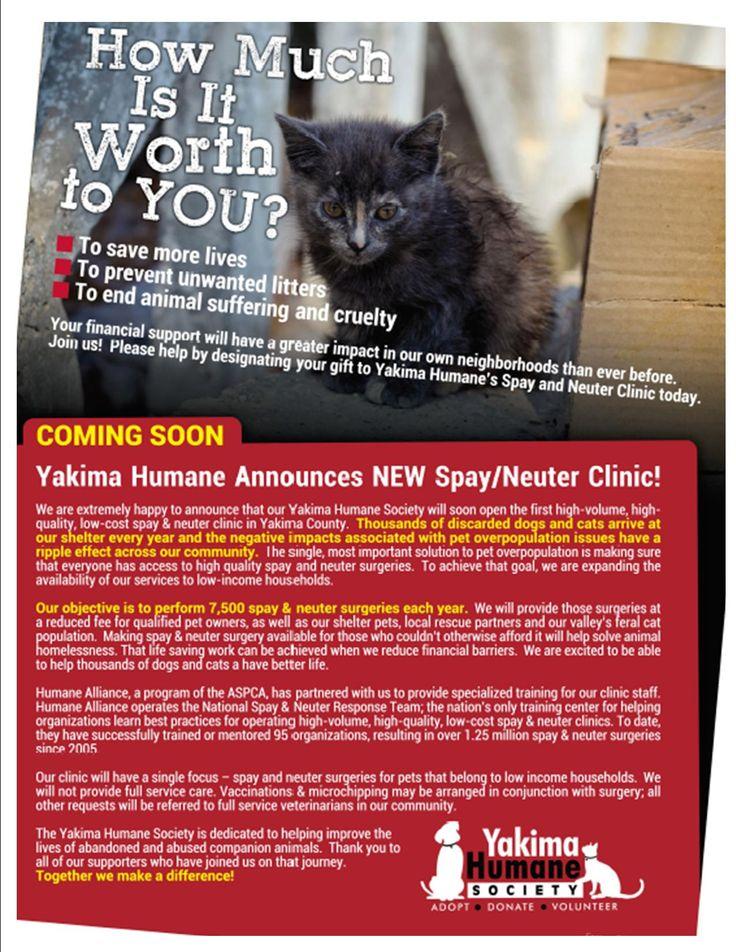 The Yakima Humane Society Spay Neuter Clinic will be
