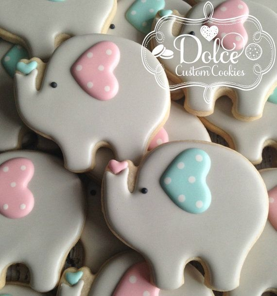 Baby Elephant Cookies Large Baby Shower or by DolceCustomCookies                                                                                                                                                                                 More