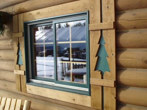 Cute Cedar Aluminum Pine Tree Shutters House Rustic Log Homes