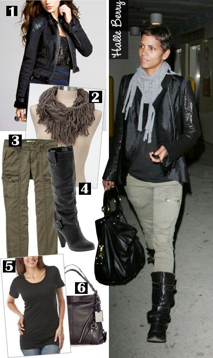 Fall or winter look idea: Leather jacket, cargo skinnies, motorcycle boots.  Thanks Halle!