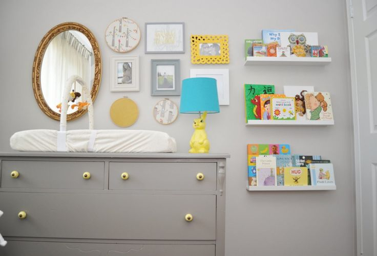 Baby Nursery:Gray Nursery Ideas White Wooden Shelves On Wall For Book Gray Color Combinations Ideas For Boy Rooms Baby Rooms With Lamps Shades Round Mirror With Frame On Wall Ideas  Gray Buffet Amazing Gray Nursery Ideas