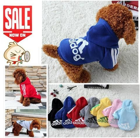Dog Clothes Pets Coats Soft Cotton Puppy Dog Clothes Adidog Clothes For Dog New 2016 Autumn Pet Products 7 colors XS-4XL - http://amzn.to/2h50xSk