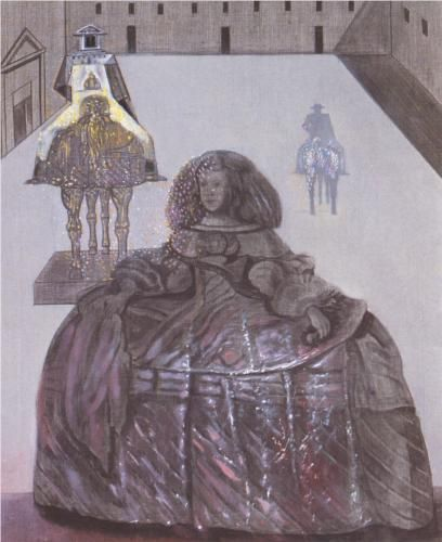 Salvador Dali (1904 - 1989)   Surrealism   The Infanta Margarita of Velazquez Appearing in the Silhouette of Horsemen in the Courtyard of the Escorial - 1982