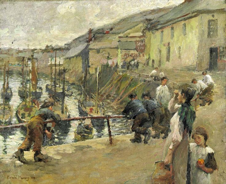 Harold Harvey 'Mousehole' oil on canvas 10 x 12 inches. images for The Newlyn School - Google Search