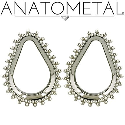 "Check out these gorgeous 1"" Teardrop Eyelets in ASTM F-138 stainless steel with silver Sabrina Overlays ordered by Heroes & Villains Tattoo & Piercing!"