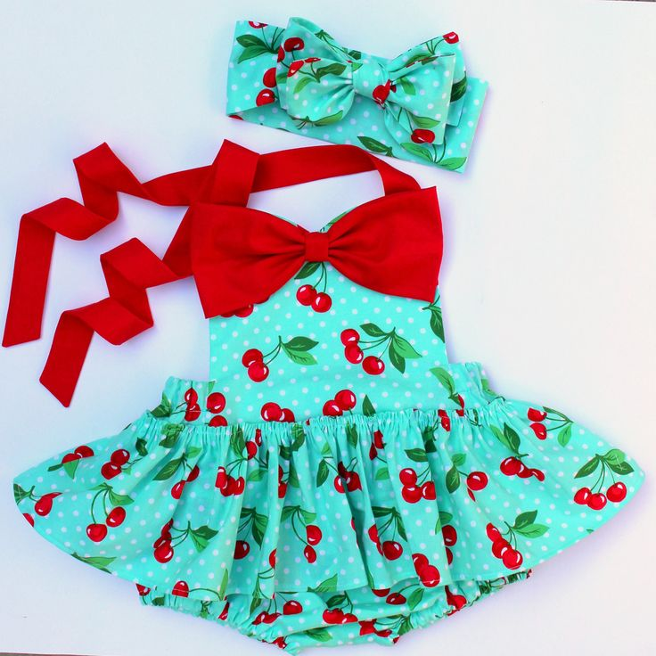 Harlow Playsuit in Aqua Cherry Print