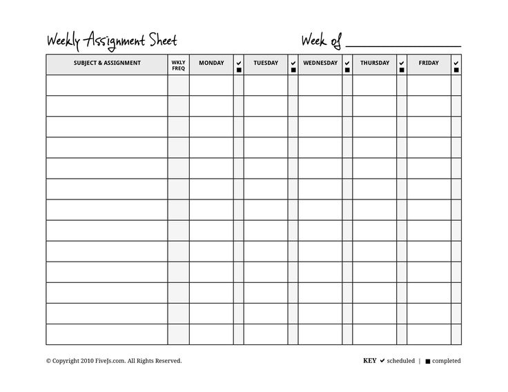 printable pdf of weekly assignment form that the student fills out as he completes