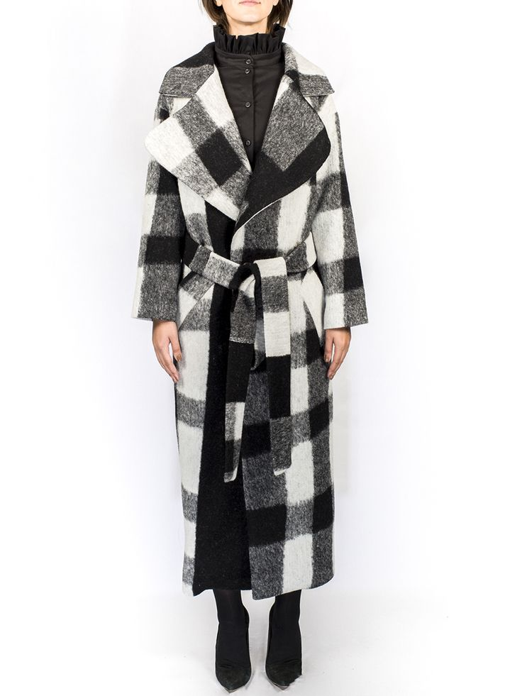 Pas du Tout - Black and White Squared Overcoat