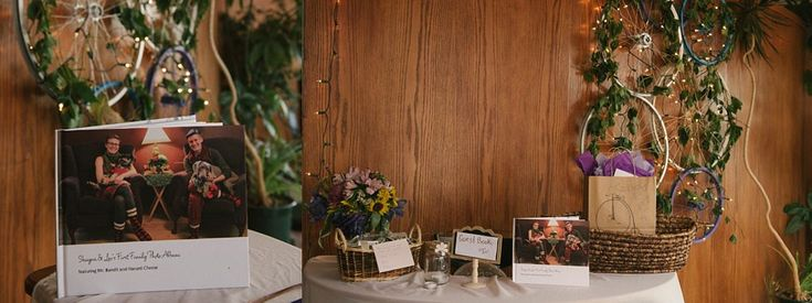 This bicycle themed wedding featured old bicycle tires and vines for decoration!