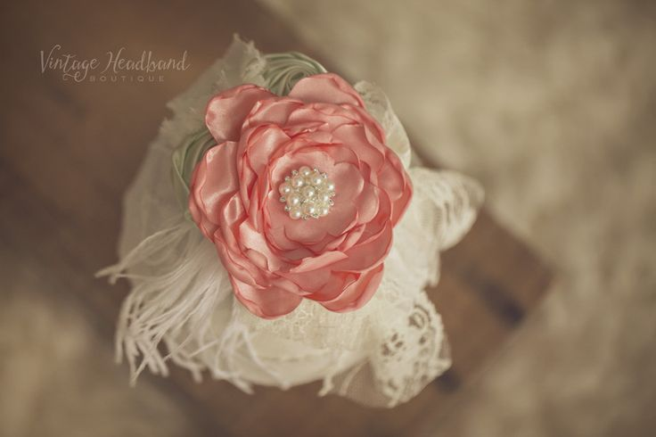 Victorian Peach Blossom Headband. Baby Headband, Newborn Headband, Womens Headband, Girls Headband, Flower Crown, Vintage Headband by Vintage Headband Boutique. www.vintageheadbandboutique.com.au