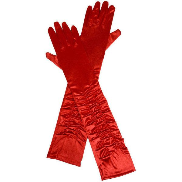 Ladies Long Red Ruched Satin Over The Elbow Opera Gloves ($12) ❤ liked on Polyvore featuring costumes, victorian costumes, women's halloween costumes, victorian halloween costumes, ladies victorian costume and ladies costumes