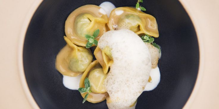 Cappelletti of rabbit, Raschera cheese cream and foam of dried mushrooms for two