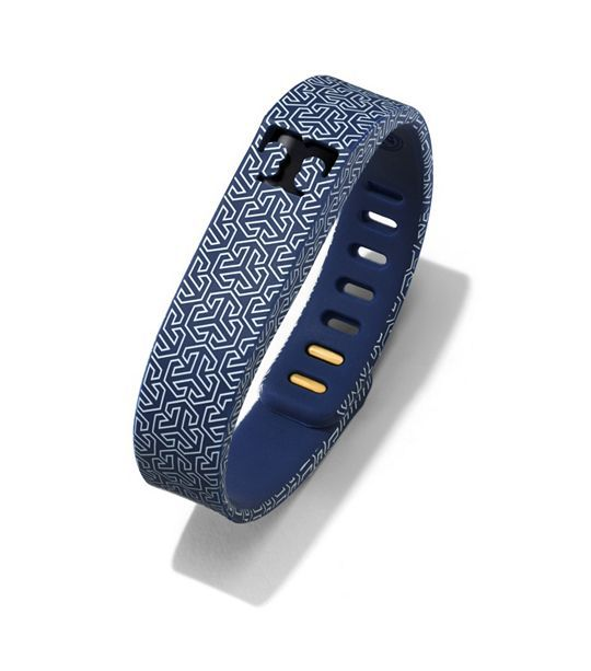 Might need to upgrade from the Zip to the Flex for this one. I love it.  Tory Burch for Fitbit Silicone Printed Bracelet - TORY NAVY MULTI/SHINY BRASS