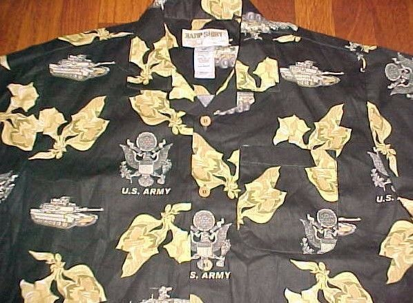 U.S. Army Kamp Shirt Hawaiian Eagle Crest Men's Black Tanks Military 2XL New #KampShirt #ButtonFront