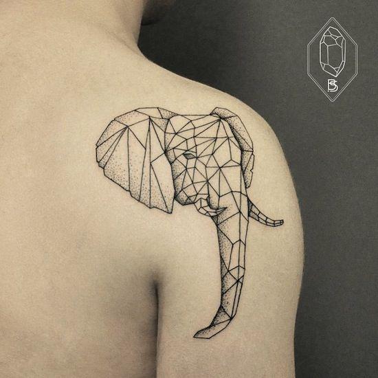 elephant by Bicem – Sinik, Istanbul, Turkey | outline simple tattoos