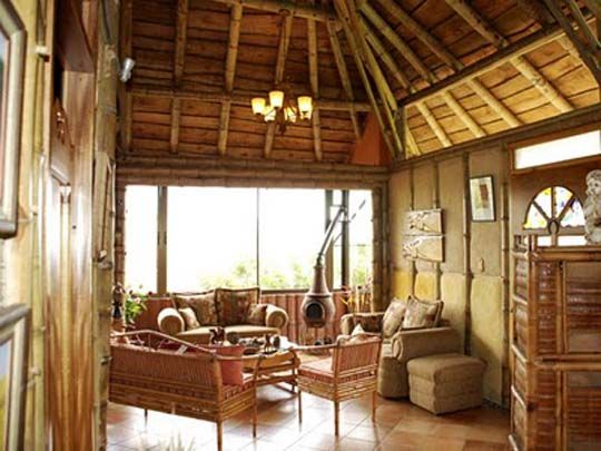 Traditional Philippine Interior Native House Wood Bamboo A Tilted Roof And
