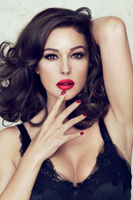 Red lips...Monica Bellucci for Dolce & Gabbana make-up...This woman is all sorts of beautiful!