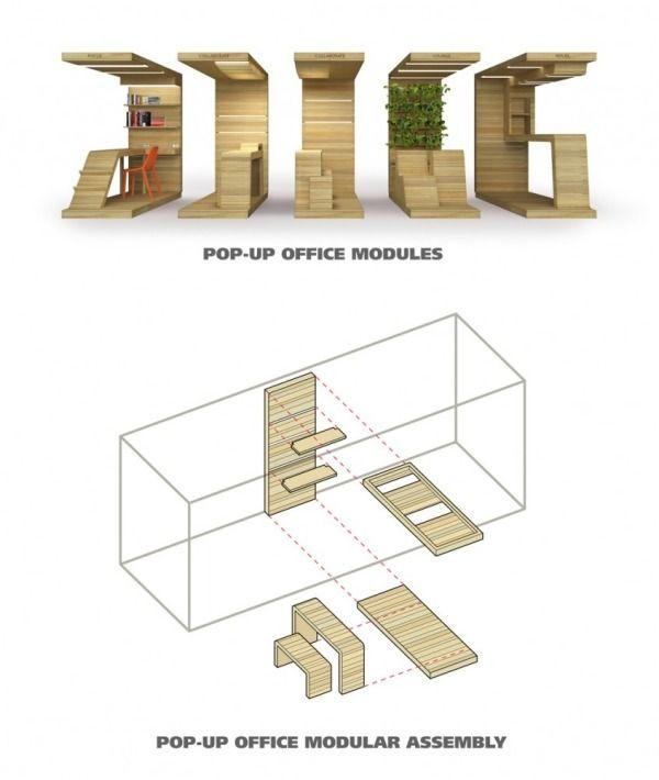 Moduleinheiten aus Holz fr ein modernes dynamisches Bro Design  Modern Art Deco  Diseo de