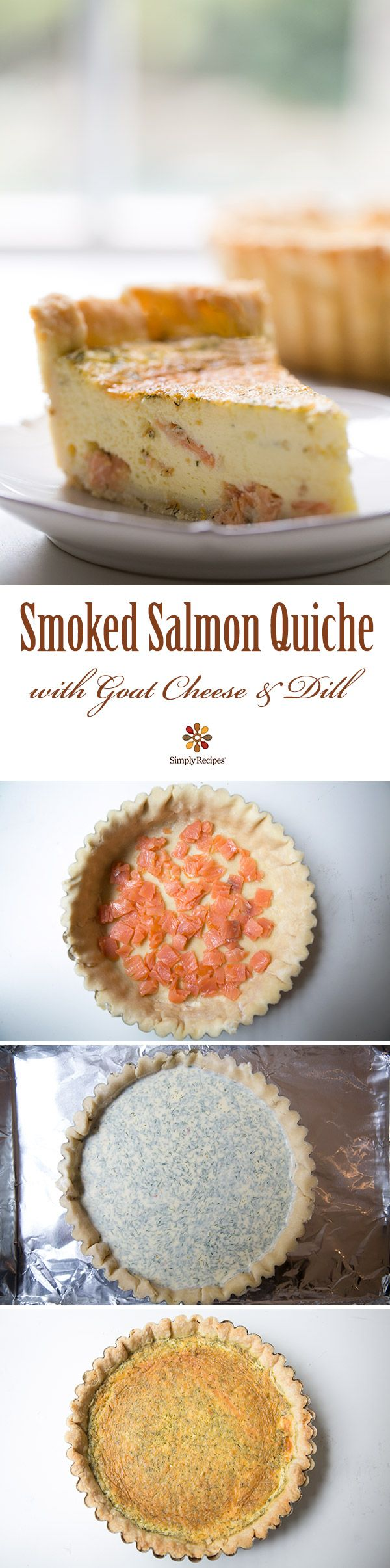 Smoked Salmon, Dill, and Goat Cheese Quiche (lemon, pie crust, milk, heavy cream, eggs)
