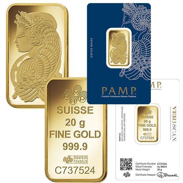 Pamp Suisse 20 Gram Gold Bar Gold Bars For Sale Gold Bullion Bars Gold Bar