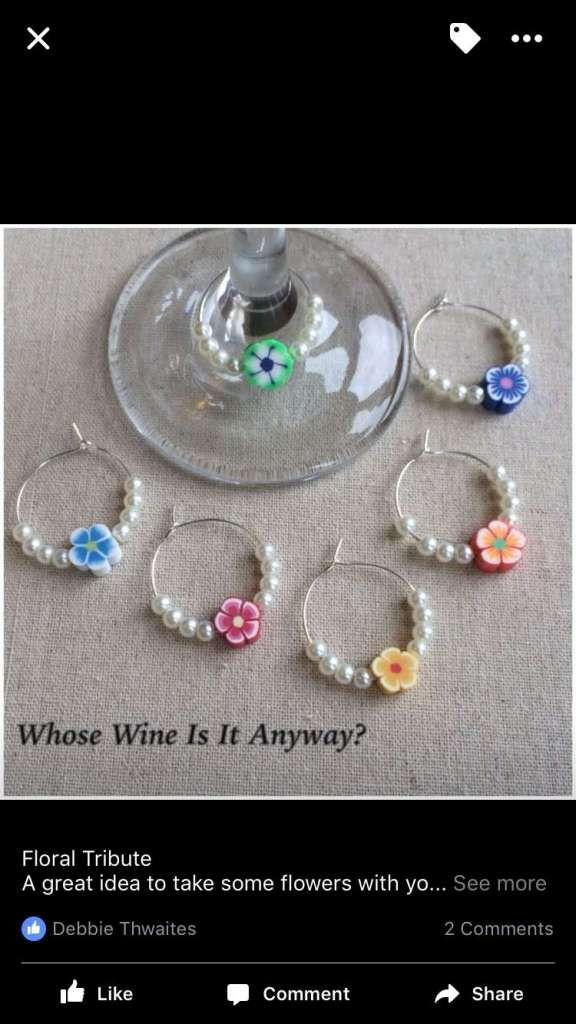 Wine Glass Charms Gift Flowers Garden Colours