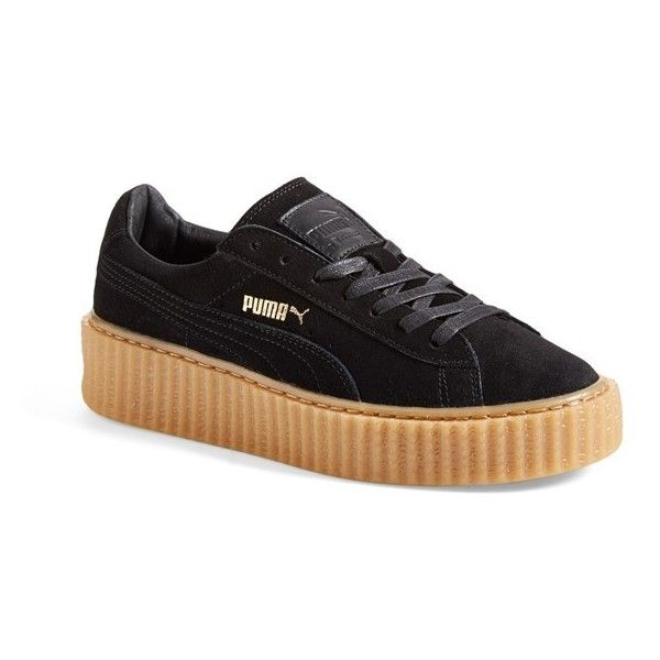 """PUMA by Rihanna 'Creeper' Sneaker, 1 1/2"""" heel ($120) ❤ liked on Polyvore featuring shoes, sneakers, puma trainers, lacing sneakers, golden sneakers, platform lace up shoes and creeper sneakers"""