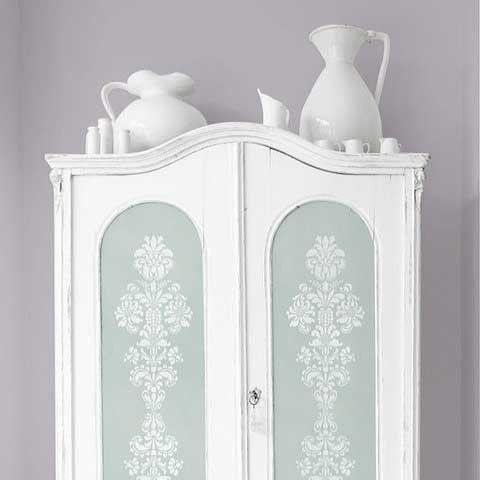 Stenciled Cebinet Doors with Delicate Floral Furniture Stencils - Royal Design Studio