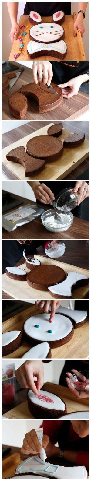 Gâteau Lapin de Pâques au chocolat - DIY - Tutoriel photo technique étapes en pas à pas - Recettes de cuisine Ôdélices by loretta
